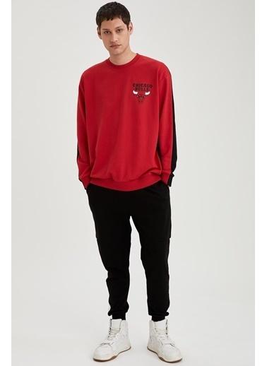 DeFacto NBA Lisanslı Unisex Oversize Fit Sweatshirt Kırmızı